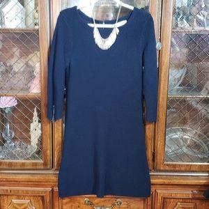 Loft Large Navy Blue Sweater Knit Dress 3/…